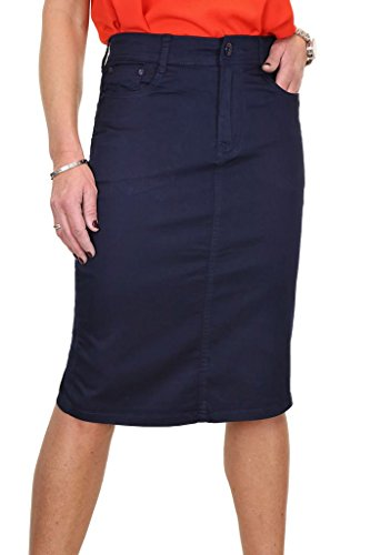 Ice (2516) Jupe en Jeans Extensible Brillant Style Chinos pour Grande Taille Bleu Marine