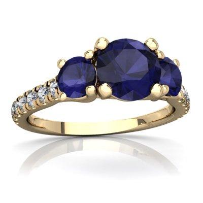 (14K Yellow Gold Sapphire and Diamond Round Pavé Trellis Ring - Size 4.5)