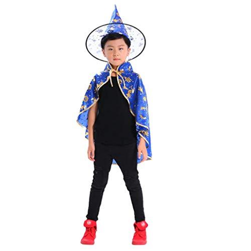 Kids Adult Children Halloween Baby Costume Wizard Witch Cloak Cape Robe+Hat Set (Blue) -