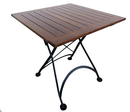 Table Patio Square Iron Folding - Mobel Designhaus French Café Bistro Folding Table, Jet Black Frame, 32