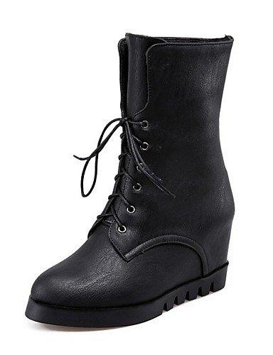 XZZ/ Damen-Stiefel-Lässig-PU-Niedriger Absatz-Flache Schuhe-Schwarz / Rot / Grau / Mandelfarben black-us7.5 / eu38 / uk5.5 / cn38