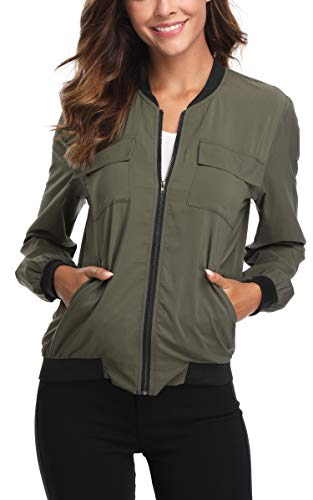 MISS MOLY Womens Bomber Jacket Zipper Cute Elegant Outwear Coat Casual Jackets Army Green S