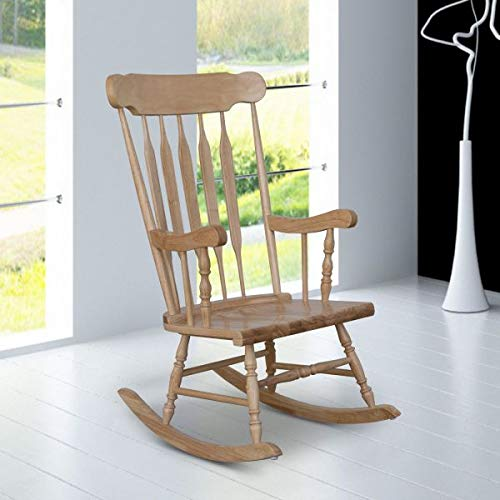 Traditional Rocking Chair Comfort Seating Armrest Backrest Patio Wooden Furniture Slatted Design Indoor Outdoor Porch Accent Relax Natural Wood