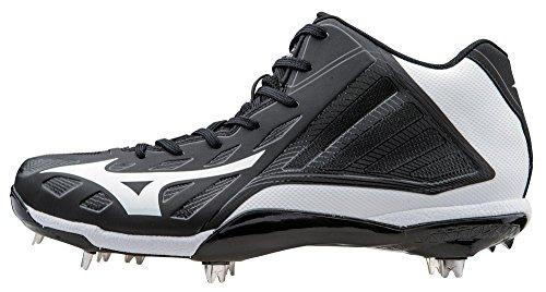 Mizuno Men's Heist IQ Mid Baseball Cleat, Black/White, 8.5 M US