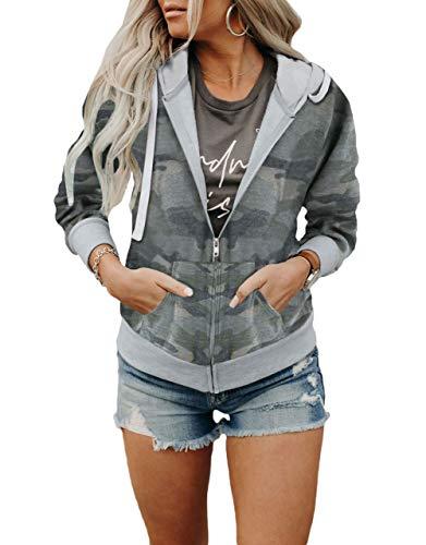 Acelitt Women Casual Long Sleeve Zip Up Hooded Sweatshirt Hoodies with Pockets,S-XXL