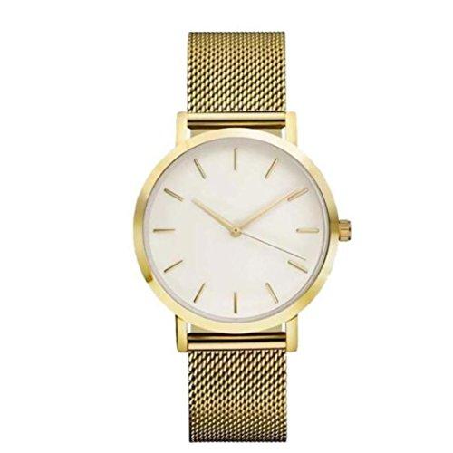 Women's Watch,Classic Steel Strap Wristwatch Quartz Party Dress Men's Wrist Watch Axchongery (Golden, One size)