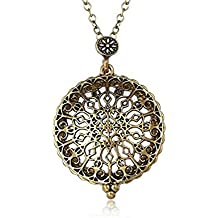 AKOAK 5X Portable Vintage Magnifying Glass Pendant Necklace for Library,Reading Fine Print,Zooming,Increase Vision,Jewelry and Gift (Flower-1)