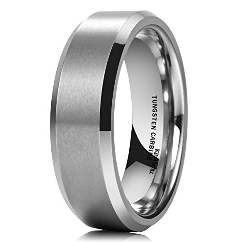 King Will BASIC Men's 7MM Classic Tungsten Carbide Ring Matte Brushed Wedding Engagement Band(8) (7mm Tungsten Ring Wedding Band)