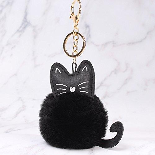 Peino - Llavero de peluche con diseño de gatito (negro)