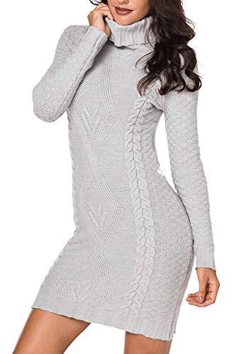 Sweater Grey Sleeve Dress Light Women's Pullover Turtleneck Cable Tunic Long LaSuiveur Knit Top Swzg7wxqH