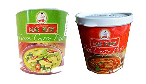 Mae Ploy Thai Cuisine Red Green Curry Paste 35 oz Jar Set (1 Red Curry + 1 Green Curry)
