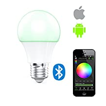 K.MAX Magic Bluetooth Smart LED Light Bulb E27, 4.5W LED 16 Million Dimmable Colors Changing LED Lights, via iOS & Android for Home Bedroom Living Room Playroom, Café, Restaurant, Bars 1 PCS(1)