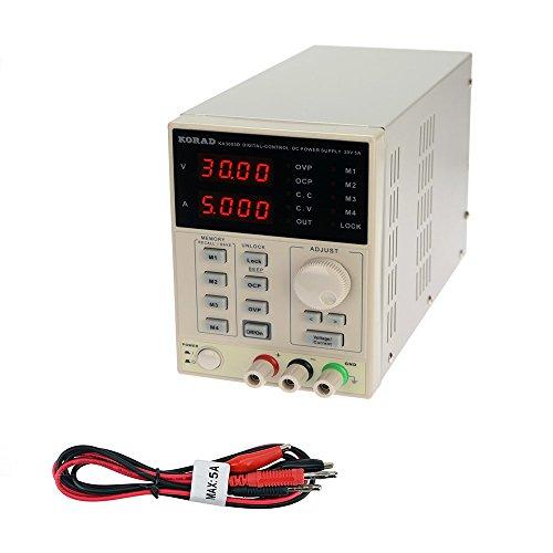 KORAD KA3005D - Precision Variable Adjustable 30V, 5A DC Linear Power Supply Digital Regulated Lab Grade by Korad Technology