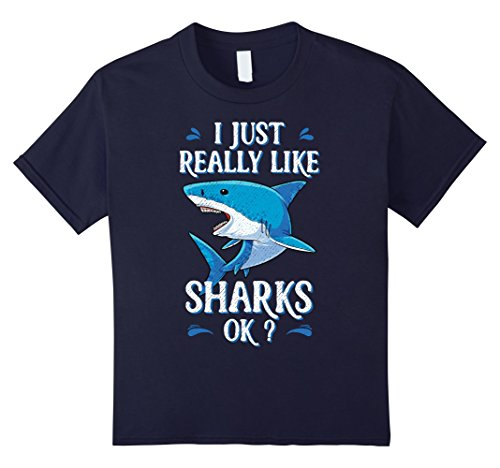Scuba Diver And Shark Costume (Kids I Just Really Like Sharks OK? Funny Shark T-shirt Gifts Tees 8 Navy)
