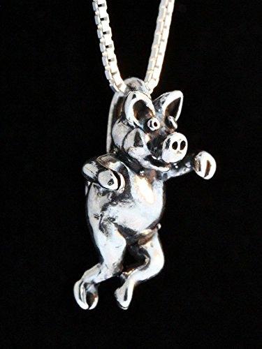 Three Little Pigs Silver Left Jig Pig Charm Pendant (Marty Sculpture)