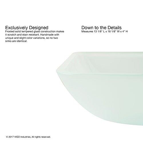 VIGO VG07083 Rectangular White Frost Glass Vessel Bathroom Sink, White Frost/Rectangular White Frost by VIGO (Image #4)