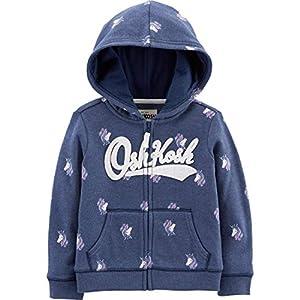 OshKosh B'Gosh Girls' Toddler Full Zip Logo Hoodie, Pink, 4T