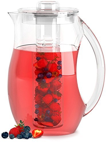 Fondrren Fruit Infuser water Pitcher With Free Ice Core | Best for Making Flavored Fruit Infusion Water Tea and More |Made With Clear Acrylic BPA Free Plastic Large 2.9 Quart (2.75 L)
