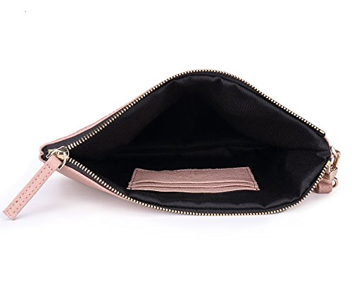 For Wristlet Large Designer Women Strap Pink goat Clutch With Lambskin Soft Wallets Leather Bag 0UwxqEqX8