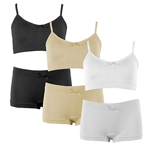 Popular Girl's Solid Adjustable Bra and Seamless Boyshort Set - 6 Pieces