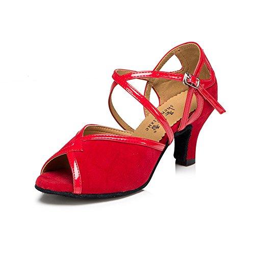 Señoras Zapatos De Baile Zapatos De Baile Latino Sólo Rojo 8cm