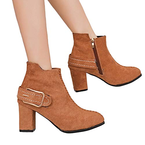 Women Ankle Booties Round Toe High Heel Zipper Shoes with Buckle Strap by Lowprofile Brown