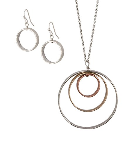 SPUNKYsoul Handmade Long 3 Circle Antiqued Pendant Necklace in Silver Rose Gold & Gold for Women ()