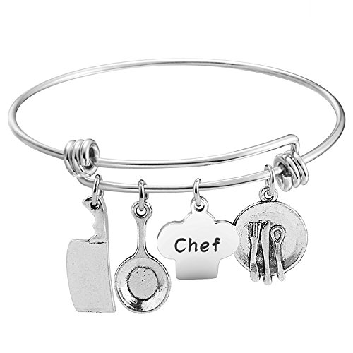 Cooking Charms Bangle Culinary Graduation Gift (chef bracelet) ()