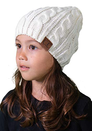 H-6031a-25 - Girls Cable Knit Beanie - Ivory