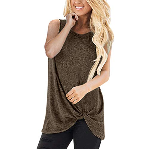 Fourth of July Tops for Women, UOKNICE Women Fashion Loose Sleeveless O-Neck Casual Solid T-Shirt Blouse Tops ()