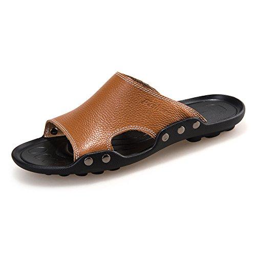 Men's Genuine Cowhide Leather Beach Slippers Casual Sandals Non-Slip Sole Shoes,Flip Flop Sandals for Men Brown