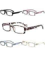 Yuluki 5 Pack Reading Glasses Blue Light Blocking,Spring Hinge Lightweight Readers Men Women,Computer Eyeglasses Anti Glare