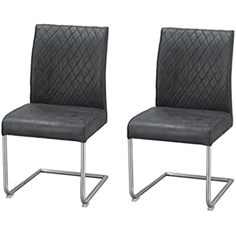 Adeco Luxury Modern Pu Leather Cushion Seat Dining Chair With Chrome Legs Black Set Of 2