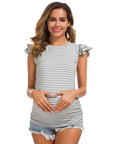 Glampunch Womens Maternity Casual Flying Sleeve T Shirts Side Ruched Tops Mama Pregnancy Clothes.