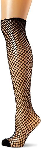 Black Industrial Fishnet - Leg Avenue Women's Spandex Industrial Net Stockings With Unfinished Top, Black, One Size