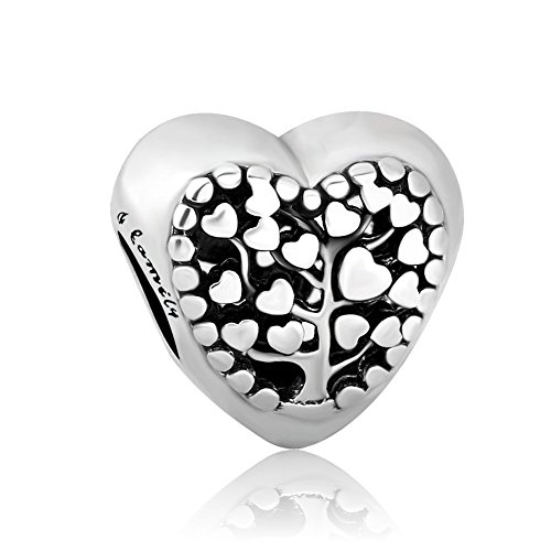 Romántico Amor Fit Pandora Charms Bracelet Tree of Life Family Heart Shaped Love Dangle Charms Beads Silver