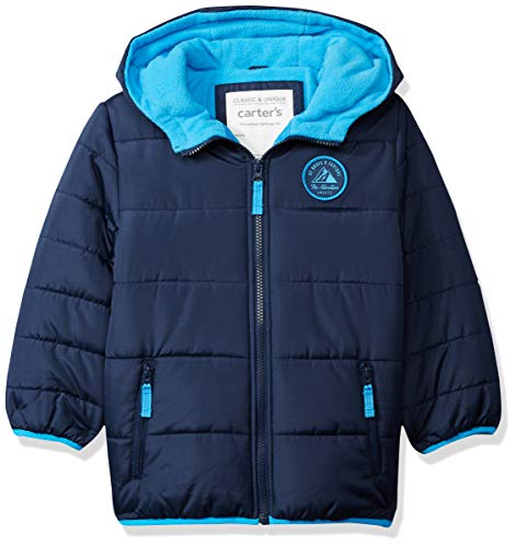 Carter's Boys' Toddler Adventure Bubble Jacket, Current Navy, 2T