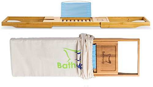Bathtub Caddy Makes Perfect Gift - Luxury Bamboo, Extending Slides, Adjustable Tablet Rack with Wine...