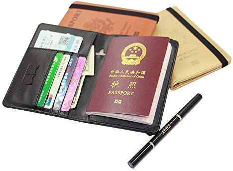 Passport Holder Cover Wallet RFID Blocking Leather Card Case Travel Document Organizer golden