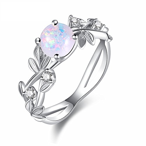 Psiroy 925 Sterling Silver Created Opal Filled Vine Leaf Engagement Ring for Women (Vine Ring 925)