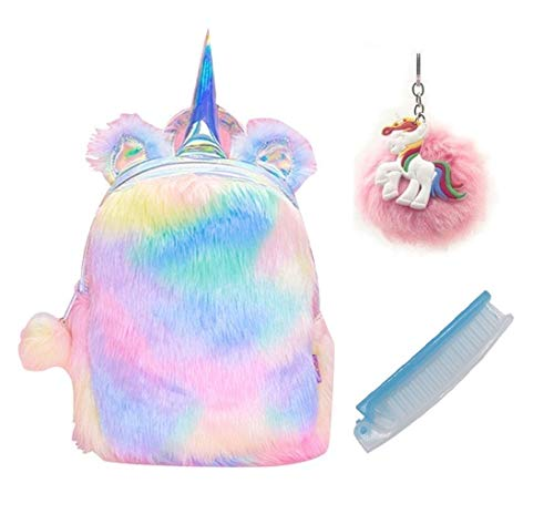 Fanovo Cute Plush Unicorn Backpack, Mini Unicorn Backpack, 3D Unicorn Backpack, Soft Rainbow Backbag Sweet Girls Daughter Gifts 12 inch Bag (Style 2)]()