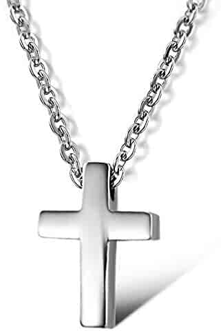 Tiny Simple Cross Pendant for Children Boy Girl Stainless Steel Small Necklace