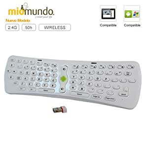 MioMundo - Mini teclado tablet / smart TV inalámbrico. Compatible con tablets Android y cualquier dispositivo remoto como portátiles, video consolas o Smart TV. Más de 50h de uso ininterrumpido, color blanco.