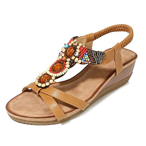 (◕‿◕ Watere◕‿◕ Comfort Sandals for Women,Women Ladies String Bead Casual Wedges Elastic Band Bohemian Beach Shoes Sandals Brown)