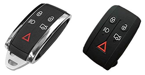 KAWIHEN Keyless Entry Remote Key Fob Shell Case Replacement For Jaguar S-Type Super V8 X-Type XF XFR XJ XJ8 XJR XK XKR Vanden Plas 5 btn KR55WK49244(Just 2 Case) by KAWIHEN
