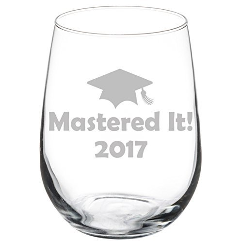 Wine Glass Goblet Funny Class of 1111 Graduation Masters Mastered It (11 oz Stemless)