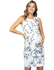 My Bump Women's Floral Front Pleated Sleeveless Knee Length Maternity Midi Dress(Made in USA)-for Baby Shower