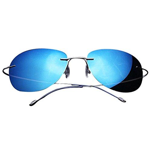 e7e85cdc723 Zando Rimless Titanium UV400 Premium Polarized Sweatproof Anti-Static  Sunglasses Silver Frame Deep Blue Lens - Buy Online in UAE.