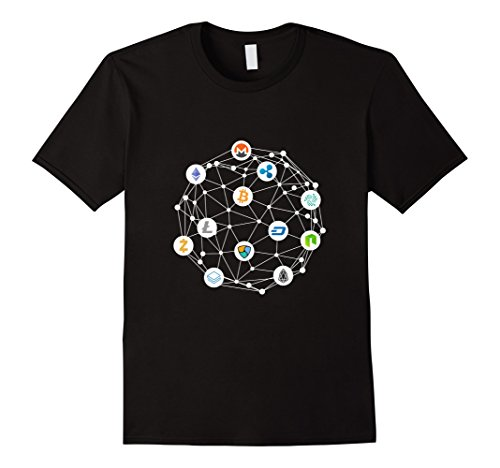Mens Cryptocurrency Network T-Shirt XL Black
