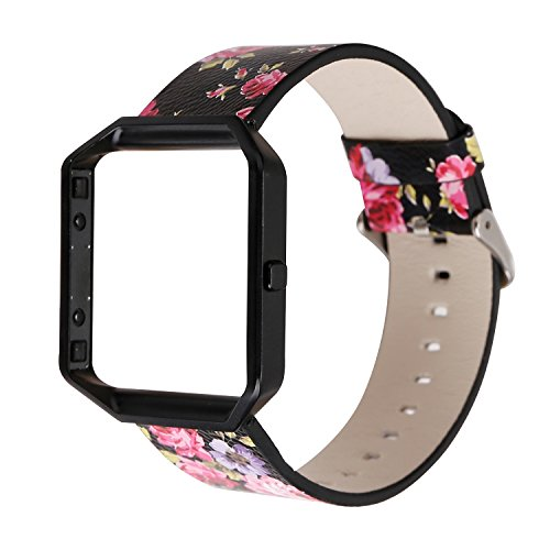 YOSWAN Replacement Band for Fitbit Blaze, Watchband Floral Soft Leather Strap Replacement Watch Band Wristband Bracelet Strap and Frame for Fitbit Blaze (Black Pink+ Black Frame)